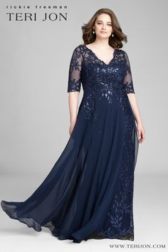 Dresses - Plus Size Lace Gown and Chiffon Overlay Skirt Teri Jon Mother Of The Bride Dresses Long, Mother Of Bride Outfits, Mother Of The Bride Plus Size, Mothers Dresses, Long Mothers Dress, Plus Size Gowns Formal, Evening Dresses Plus Size, Plus Size Dresses, Evening Gowns