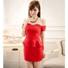 RED OFF SHOULDER FLOUNCED PEPLUM DRESS