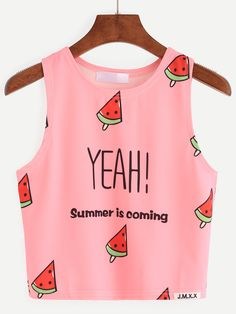8506b7644f1ca Pink Watermelon Popsicle Print Tank Top Fabric  Fabric has some stretch  Season  Summer Color  Pink Pattern Type  Printed Neckline  Round Neck  Material  ...