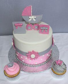 Pink and Grey baby shower cake   Susmita929   Flickr