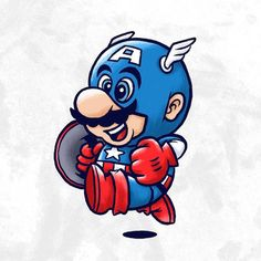 Captain America Illustrator and designer David Creighton-Pester from New Zealand has started a creative project that had him dressing up video. Cultura Pop, Tattoo Studio, Mario Y Luigi, Mario Tattoo, Super Mario Art, Mosaic Wall Art, Super Smash Bros, Pictures To Draw, Cute Stickers