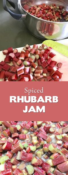Now I know what to do with all of the rhubarb in the garden! Simple jam or jelly recipe full of spices. I can see myself eating this on everything!