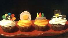 Give Thanks! Thanksgiving cupcakes made for kids at our church. Pilgrim hat, Indian feather band, Turkey, and Give Thanks seal with pumpkin. Thanksgiving Cupcakes, Happy Thanksgiving, Pilgrims And Indians, Give Thanks, Fondant, Celebrations, Food Ideas, Turkey, Pumpkin