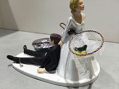 Fish Fishing Humor Funny Bride Groom Wedding Cake Topper Ice Tub Beer Pole