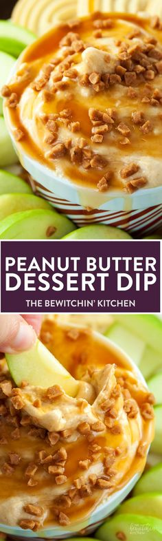 Peanut Butter Dip - calling all peanutbutter lovers! This creamcheese dessert dip is heaven on earth. Goes great with apples or shortbread cookies. I love the crunch of the skor topping too. So darn g (Favorite Desserts Butter) Appetizer Recipes, Snack Recipes, Dessert Recipes, Cooking Recipes, Dip Recipes, Holiday Appetizers, Recipies, Pudding Desserts, Cheese Recipes