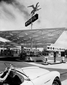 Mobil Gas Station by Julius Shulman, 1956 (via eat tarantula / melisaki) The greatest architecture photographer in history.