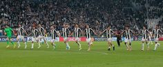 Juventus players celebrate victory at the end of the UEFA Champions League Quarter Final first leg match between Juventus and FC Barcelona at Juventus Stadium on April 11, 2017 in Turin, Italy.
