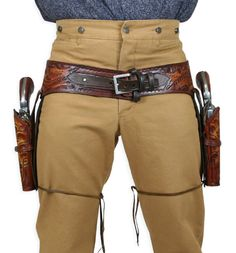 (.44/.45+cal)+Western+Gun+Belt+and+Holster+-+Double+-+Harvest+Colors+Tooled+Leather
