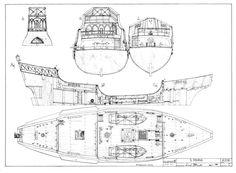 SANTA MARÍA, nave insignia de Cristóbal Colón (planos con detalles de cubiertas y castillos).