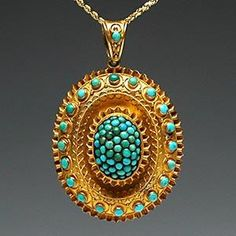 Victorian Era Antique Turquoise Photo Locket Pendant Solid 18K Gold