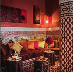 A sitting area at Royal Mansour, Marrakech.  Photo by Alan Keohane www.still-images.net