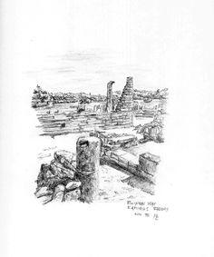Ruinen vom Kamiros Rhodos - Bleistiftzeichnung - Nov.95   ©Manfred Cremer, Bensberg, DE