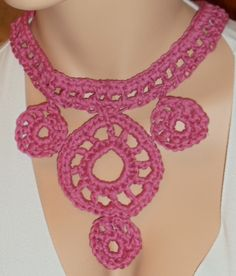 """Necklace available at Captola at Etsy.com  It is called """"The Debby"""" because it is colorful and playful like our bubby Debby. Crochet, pink, rose"""