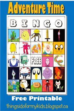 Adventure Time Birthday Party! Free bingo game printable!