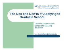 A guide to the graduate school application process created by the School of Continuing Education's Office of Student and Alumni Affairs. Click on the image to see the full presentation PDF.