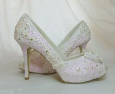 f618e0a4b3ff4 Lacey pale pink and ivory vintage lace Swarovski crystal and faux pearl  adorned bespoke bridal shoes