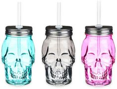 Formations Skull Shaped Mason Jar with Straw