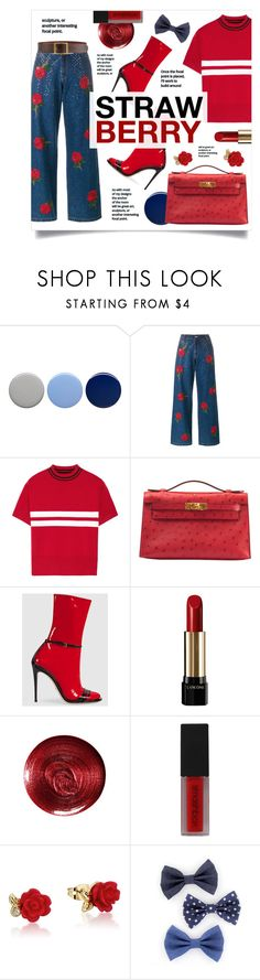 """STRAWBERRY PURSE"" by stellacolor21 ❤ liked on Polyvore featuring Burberry, Ashish, Tim Coppens, Hermès, Gucci, Lancôme, Christian Dior, Smashbox, Disney and Frame"