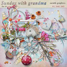 Sunday with Grandma Scrapbooking Layouts, Digital Scrapbooking, Sunday, Free, Graphics, Store, Domingo, Graphic Design, Larger