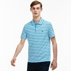 LACOSTE Men's Stripe Ribbed Collar Piqué Polo Shirt - loire blue/white. # lacoste