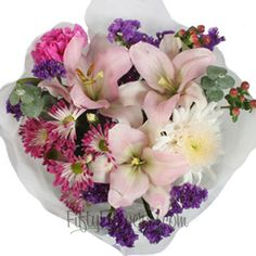 Party Table Arrangements Pink and White Flowers | FiftyFlowers.com - 12 small centerpieces for $137.99