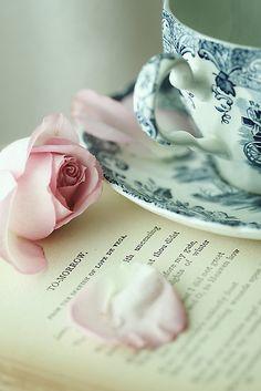 Rose, teacup, book