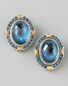 London Blue Topaz Clip Earrings - Neiman Marcus