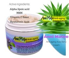 Anti-aging Acai Berry Cream Ideal for wrinkles, inflamed skin as well acne and will settle any skin problem.