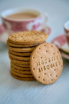 Homemade Digestive Biscuits (by Donal Skehan & Gemma Stafford) Digestive Cookies, Digestive Biscuits, Digestive Cookie Recipe, Biscuit Cookies, Biscuit Recipe, Biscuit Cake, Tea Cakes, Nice Biscuits, Cookies