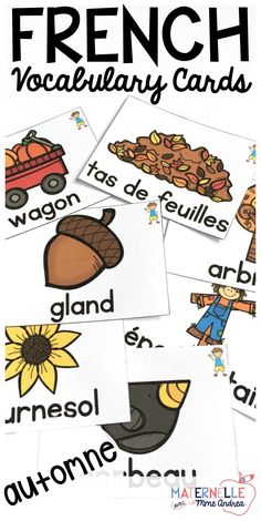 French Autumn Vocabulary Cards - use these cards in tons of different ways to help your students learn Fall vocabulary, en français. Word wall cards, mini books, oral communication games - the possibilities are endless! Comes with both colour and black & Learning Games, Student Learning, Oral Communication Skills, French Teaching Resources, Vocabulary Cards, Preschool At Home, French Lessons, France, How To Treat Acne