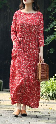 0c42b7927b Bohemian Square Collar tie waist linen clothes plus size Sewing red print  long Dress Summer