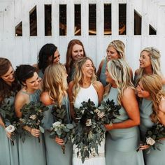 Squad goals in Silver Sage bridesmaid dresses #mumuweddings