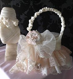 Wedding Flower Girl Baskets Vintage Lace Tiny seed by Babybonbons, $55.00