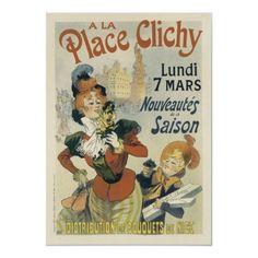Art Print: A La Place Clichy - Paris, France - Nice Flower Bouquets Distribution by Rene Pean : Vintage French Posters, French Vintage, Vintage Style, Vintage Labels, Vintage Ads, Vintage Ephemera, Belle Epoque, Framed Prints, Canvas Prints