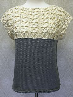 Butterfly Tee Free Knitting Pattern - love the butterfly lace yoke - more free Tee knitting patterns at http://intheloopknitting.com/tops-tanks-tees-free-knitting-patterns/