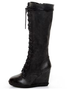 Qupid - Owner - Black Lace-Up Knee High Wedge Boots Heels Shoes $47.00