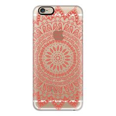 iPhone 6 Plus/6/5/5s/5c Case - BOHEMIAN FLOWER MANDALA IN CORAL -... ($40) ❤ liked on Polyvore featuring accessories, tech accessories, phone cases, cases, iphone case, tech, apple iphone cases, flower iphone case, slim iphone case and clear flower iphone case