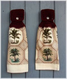 Hanging Kitchen Towels Palm Trees Matching Pair by DebbieCrochets, $9.95