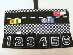 Racing toy car caddy Checkered by Auntbunnysblankets on Etsy, $17.00
