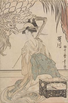 "vintage geisha art: vintage geisha art: Kitagawa Utamaro (Japanese: 喜多川 歌麿; ca 1753 – 1806 Oct31) ""Courtesan Utagawa of the Matsubaya (Matsubaya no Utagawa)"" (Harvard Art Museums) center panel ca 1799 (late Edo period 1789-1868)• ukiyo-e genre of woodblock print ""ôban"" triptych • size: 37.5 x 24.8cm ()14 3/4 x 9 3/4"") • Utamaro was famous for bijin-ga (female beauties) + nature studies (esp. insect books) influenced the European Impressionists"
