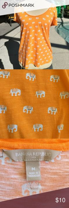 LAST CHANCE! Orange Banana Republic Elephant Shirt LAST CHANCE!!  This t-shirt is so cute! Selling in excellent used condition, from a smoke free home. No trades. Bundle and save on shipping! Banana Republic Tops Tees - Short Sleeve