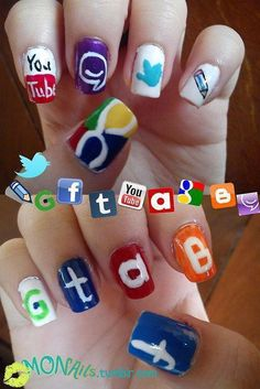 This shows that the women are so addicted or really like a website that they do the logos on their nails.
