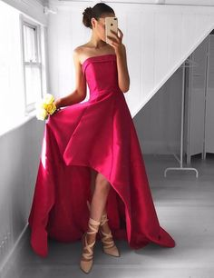 Chic Strapless High-Low Rose Pink Prom Dress Ruched,