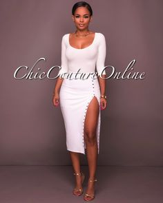 Chic Couture Online - Thandie Ivory Gold Button Midi Skirt,  (http://www.chiccoutureonline.com/thandie-ivory-gold-button-midi-skirt/)
