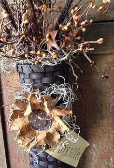 Handcrafted Sunflower and Berries Basket ~ Primitive instead of having primitive on the tag put last name.