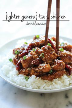 Lighter General Tso's Chicken - A lightened-up, baked version made with half the calories. And it tastes even better than the original!