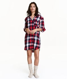 Check this out! Long nightshirt in soft cotton flannel with notched lapels. Chest pocket, buttons at front and at cuffs, and rounded hem. Slightly longer at back. - Visit hm.com to see more.