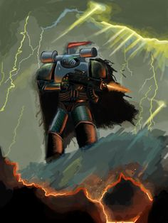 Lone warrior on stormy planet