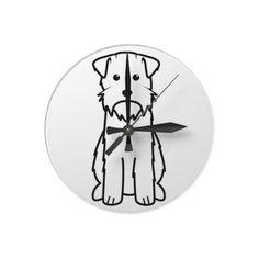 Wirehaired Pointing Griffon Dog Cartoon Round Wall Clocks