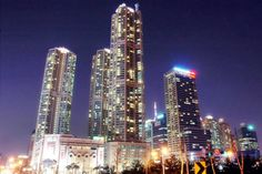 Night skyline of the Hyperion Towers, Seoul.
